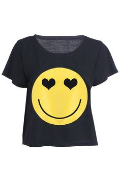 Romwe.com Big Smiling Face Black T-shirt    $27.99  #Romwe