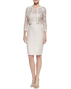 Lace+Illusion-Neck+Tweed+Cocktail+Dress+&+Long-Sleeve+Lace+Metallic+Jacket+by+Kay+Unger+New+York+at+Neiman+Marcus.  Not the color but the style