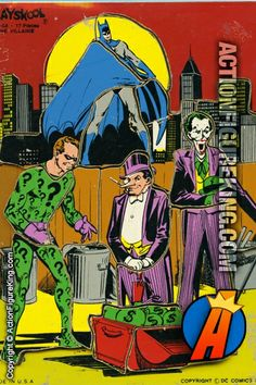 Retro wooden tray puzzle from Playskool featuring Batman villains The Riddler, Penguin, and Joker.
