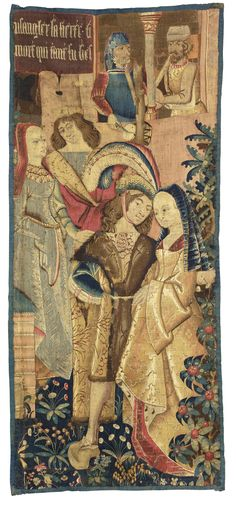 tapestrytextile ||| sotheby's n08825lot6b2zten 16th Century Clothing, Historical Images, Historical Dress, Medieval Tapestry, Large Tapestries, Medieval World, Book Of Hours, Medieval Manuscript, Old Master