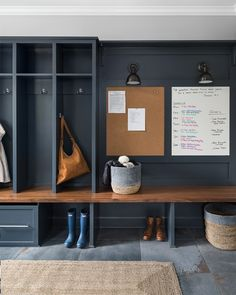 mudroom design with built in lockers, mudroom ideas with storage lockers with hooks, navy lockers in modern farmhouse mudroom Modern Farmhouse Design, Farmhouse Style Kitchen, Modern Farmhouse Kitchens, Farmhouse Decor, Farmhouse Ideas, Flur Design, Hall Design, Design Design, Sauna Design