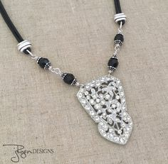 Repurposed Rhinestone and Leather Necklace - OOAK Jewelry design.  20% off entire Jryen Designs shop through 11/28/2016 coupon code HOLIDAY20