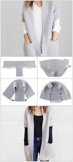 Crochet Cardigan, Crochet Shawl, Knit Crochet, Shrug Sweater, Loom Knitting, Knitting Stitches, Crochet Fashion, Diy Fashion, Punk Fashion