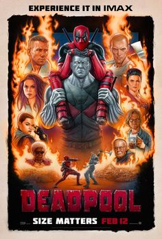 Deadpool Movie Poster - Imax Promo Flyer 11 X 17 Collage: DeadPool Movie Poster. Promo to advertise the IMAX showings of DeadPool at AMC Theatres. Included with the poster is an acid-free preservation/display sleeve. 11 x 17 inches. Deadpool Movie Poster, Deadpool Film, Deadpool Character, Deadpool 2016, Deadpool Superhero, Deadpool Tattoo, Deadpool Quotes, Art Deco Posters, Comic Con