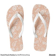 Pastel Peach Paisley Flip Flops