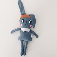 denim bunny girl doll by Virginie Jolie
