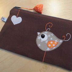 Trousse - pochette -  marron oiseau et coeur