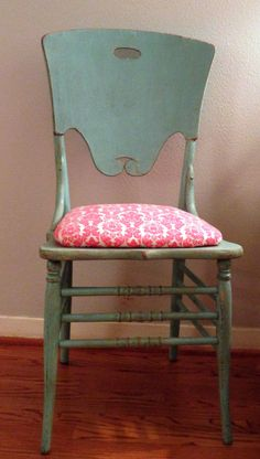 Want to re upholster our antique chair in mudroom and paint it similar to this.