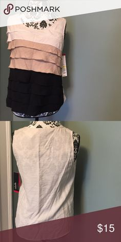 Cream, Black, Tan Ruffled Tank - NWT - M Rafaella tank with layered ruffles in tan, cream and black.  Solid cream back.  Size M.  NWT.  Smoke free home.  No trades.  Will combine shipping.  Thanks for looking. Rafaella Tops Tank Tops