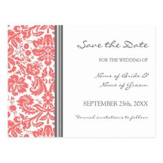 Damask Wedding Save the Date Cards Coral Grey Damask Save the Date Wedding Postcard