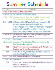 Giving kids a schedule for playtime,   chores and summer homework. I would really love to be able to make this happen.   Kids thrive on schedules and clear expectations. But spontaneity always seems to   win out in my house.