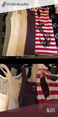 Tank Top Bundle Bundle of 5 slim fit style tank tops. All are new, washed but never worn. The anchor one has a bit of a snag on the bottom of the hem.🚫NO TRADES🚫 The two on the left are mediums. The rest are all small (the mediums will still fit a small) Mossimo Supply Co. Tops Tank Tops