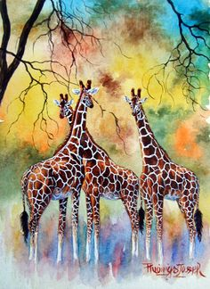 Buy 4 Thiongo Giraffe oil painting reproduction from Toperfect's artists in reasonable prices; our painters are famous for 4 Thiongo Giraffe paintings for sale, landscape art, portrait from photos, wall decor pictures, and more paintings on canvas. Giraffe Drawing, Giraffe Painting, Giraffe Art, African Art Paintings, Animal Paintings, Animal Drawings, Art Drawings, Giraffe Pictures, Afrique Art