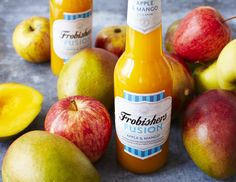 Apple & Mango Fusion Juice Drinks, Fruit Juice, Juice Flavors, Variety Of Fruits, Orchards, Branding, Pure Products, Bright, Create