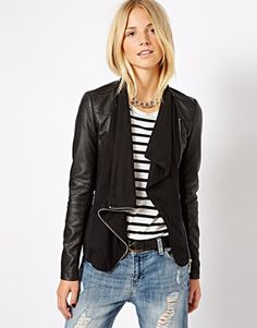 568c243f992 Waterfall front leather and wool jacket from ASOS Waterfall Jacket