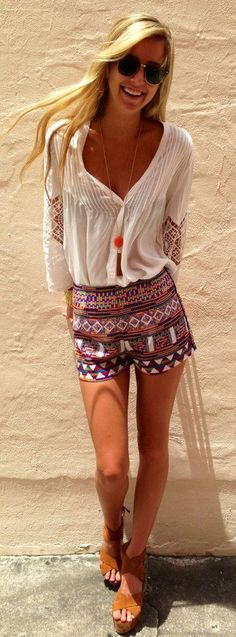 summer styles, summer fashions, blous, summer outfits, boho shorts