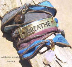 FEEL YOUR BREATH ... GORGEOUS HAND DYED SILK RIBBON & HEALING GEMSTONE 5X WRAP BRACELET