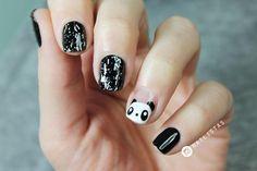 Uñas decoradas con animales paso a paso | Panda Nail Art | Cuidar de tu belleza es facilisimo.com Little Girl Nails, Girls Nails, Love Nails, Fun Nails, Simple Nails, Hair And Nails, Art Pieces, Make Up, Nail Art
