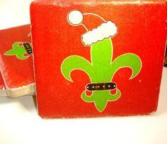 Fleur De Lis Christmas    Set of Tile Drink Coasters 4 by mydecor8, $14.00