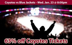 $18 (63% off) Phoenix Coyotes Tickets vs Columbus Blue Jackets Wed. Jan. 23 @ 8:00pm - Crowd Seats Cheap Sports Tickets