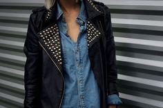 Studded Leather Jacket and Denim Shirt