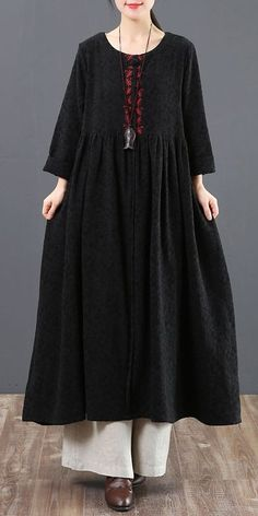 Vintage Pure Color Cotton Linen Maxi Dresses For Women 2093 Linen Dresses, Maxi Dresses, Casual Dresses, Casual Outfits, Kurti Styles, Long Frock, Badass Style, Winter Collection, Cotton Linen