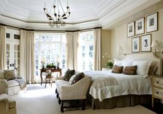 Bedroom - charming and cozy - love the doors and windows - beautiful decor | Tammy Connor Interior Design