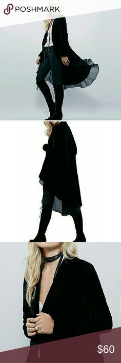 Velvet Cape Cardigan in Black RESTOCKED 93% ployester & 7% spandex BLACK  S: B:37in~Shldr:14.9in~Slv:23.2in~L:46in  M: B:38.5in~Shldr:15.3in~Slv:23.6in~L:46.4in  L: B:40.1in~Shldr:15.7in~Slv:24in~L:46.8in  XL: B:41.7in~Shldr:16.1in~Slv:24.4in~L:47.2in  2XL: B:43.3in~Shldr:16.5in~Slv:24.8in~L:47.6in  Go by measurements not by size  Boutique Items are NWOT direct from makers   Tags: goth.trendy.gothic.gypsy. Witch.wicca.cape.trench.coat.punk.velvet. Jackets & Coats