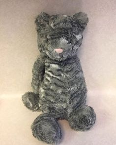 "Jellycat MEDIUM Bashful Cat 12"" Soft Plush Stuffed Toy Animal/ Grey Stripe #Jellycat"