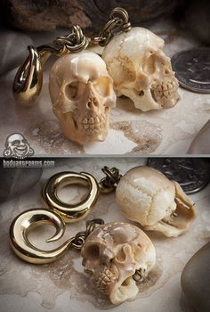 Brass and fossilized walrus tusk made into skull weights...