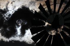 Thunderstorm rolls through Nevada during annular solar eclipse.