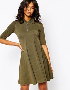 Boohoo Zip Front Swing Dress
