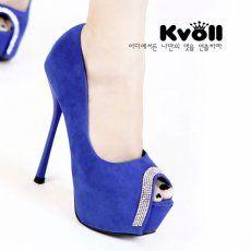 D72197 Kvoll Korean Fashion Suede Rhinestone Peep-toe Pump Blue [D72197] - $24.25 : China,Korean,Japan Fashion clothing wholesale and Dropship online-Be the most beautiful Lady