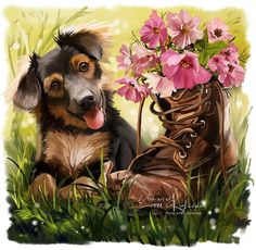 Explore the Lovely Art collection - the favourite images chosen by LaMoonstar on DeviantArt. Funny Animal Pictures, Cute Pictures, Animals And Pets, Cute Animals, Gif Animé, Dog Paintings, Watercolor Animals, Pictures To Paint, Dog Art