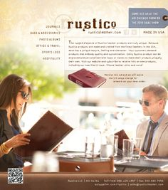 Brand design for Rustico Leather print ads and catalog
