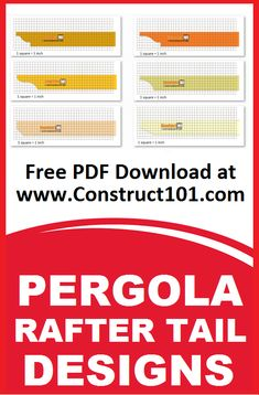 Pergola rafter tail design plans. Build it yourself projects, free PDF download. Includes shopping list, cutting list, drawings, and measurements.