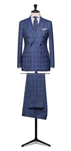 suitshop:6 Button DB in a clean blue check