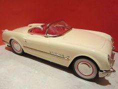 VINTAGE TINPLATE JAPAN CAR CORVETTE 1950's FRICTION  50'S FIFTIES CONVERTIBLE  #LEADWORKS
