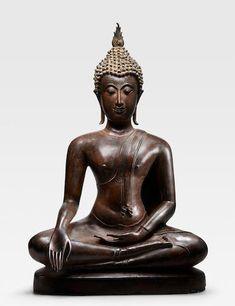 A COPPER ALLOY FIGURE OF BUDDHA THAILAND, SUKHOTHAI PERIOD, CIRCA 14TH CENTURY