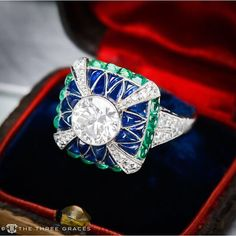 http://rubies.work/0077-ruby-rings/ Art Deco Emerald, Sapphire and Diamond Engagement ring