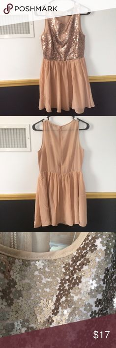 NWT F21 Dress Brand new dress from Forever 21. Taupe color with flower shaped sequins Forever 21 Dresses Mini