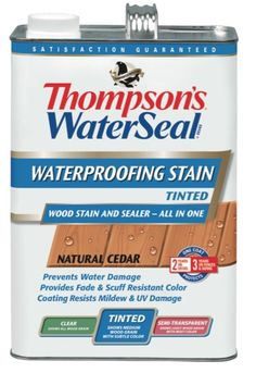 Thompson's® Water Seal® Waterproofing Stain - Tinted prevents water damage while providing fade & scuff resistant color. Provides beautiful, rich color without hiding the natural wood grain. To keep the wood looking beautiful, the coating resists mildew & UV damage. This is what I used this year 2013 on my deck