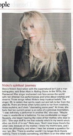 Those last two lines... I get it! My Mom is there too :) Stevie Nicks