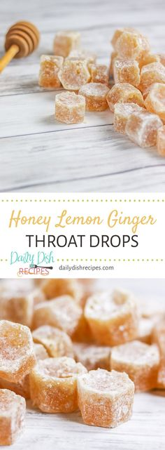 Cough that won't go away? These Homemade Honey Lemon Ginger Throat Drops are incredibly soothing, taste wonderful and when you're feeling better, drop the leftovers in your hot tea to sweeten it. Delicious to the last drop. Ginger Candy Recipe, Honey Candy, Honey Recipes, Tea Recipes, Cooking Recipes, Cough Drops Homemade, Cough Candy, Drops Recipe, Ginger Honey Lemon