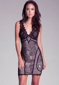 bebe | V Neck Lace Dress - Clothing - View All