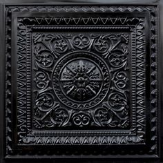 223 Faux Tin Black Ceiling Tile - 24x24 - Black.  very pretty.