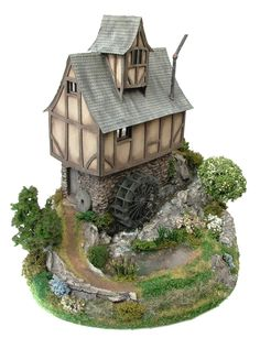 1:48th Mill Pond Cottage & Base By Bea Broadwood of www.petite-properties.com (Picture shows constructed, decorated & landscaped kits)