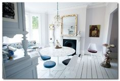 Victorian interior, modern design aesthetic, all white