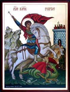 Love the braiding of the horses tail. How the Icon circle around his head works with his cape. Byzantine Art, Byzantine Icons, Religious Icons, Religious Art, Holly Pictures, Medieval Horse, Saint George And The Dragon, Roman Church, Religious Paintings