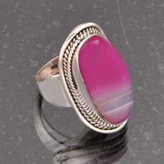 HOT SALL 925 SOLID STERLING SILVER  BOTSWANA AGATE FANCY RING 8.19g DJR5374 #Handmade #Ring